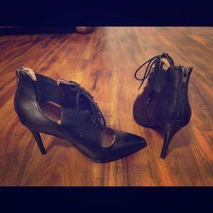 Black leather tie-up booties